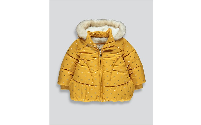 Elegant ochre coat with metallic gold heart made of polyester perfect winter or cold weather.