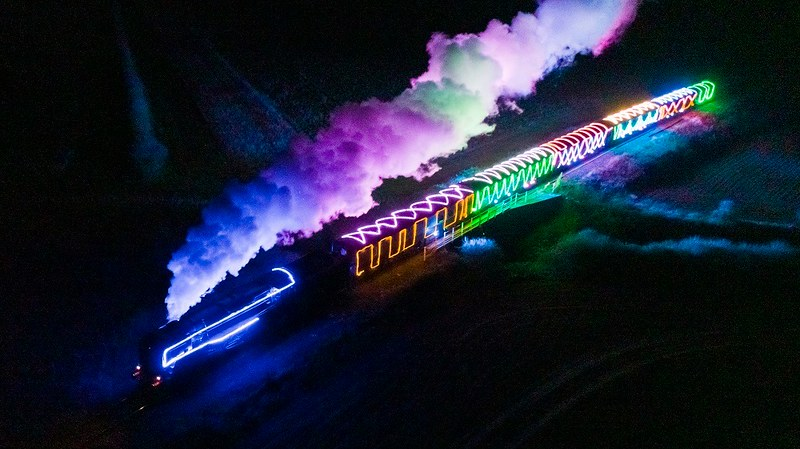 Bluebell Railway colourfully lit for Steam Lights.