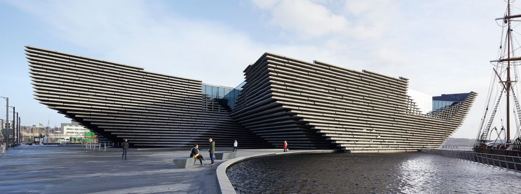 The V&A Dundee exterior, with architecture designed by Japanese architect Kengo Kuma.