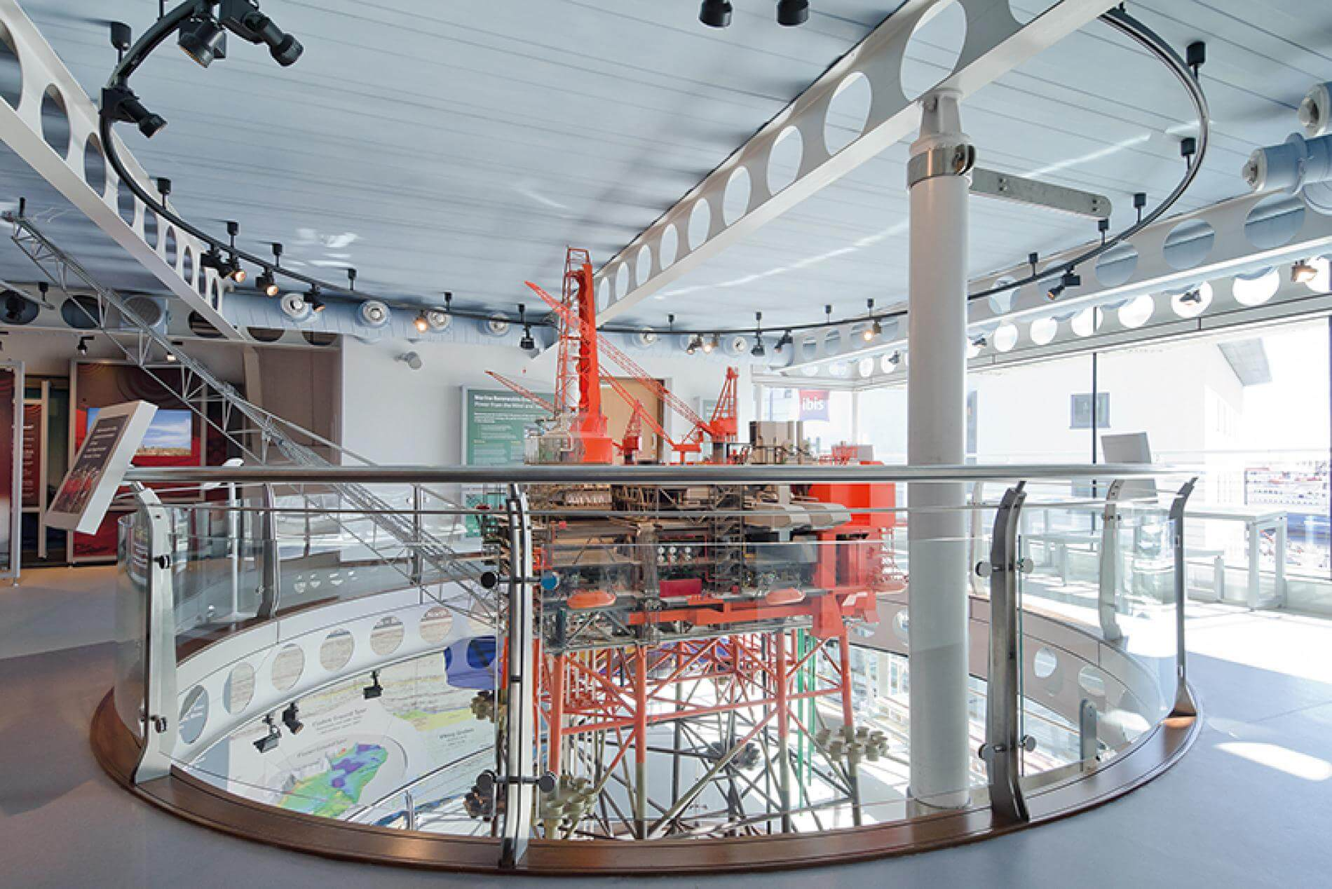 The oil rig goes up the centre of the museum and is a central point.