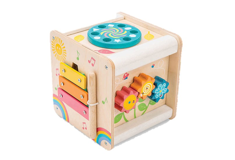 Durable, fun and educational wooden cube wit set of activities that helps stimulating senses and gives fun.