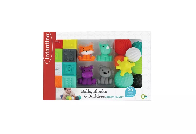 Colorful set and of adorable animals and shapes that helps babies earning and progress.
