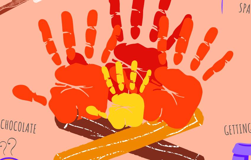 Illustration of a hand print bonfire night craft.