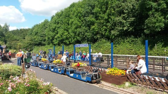 The miniature blue train at the railway at Rushcliffe Country Park.