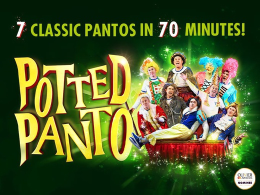 The cast of the show Potted Panto on the promotional poster of the production.