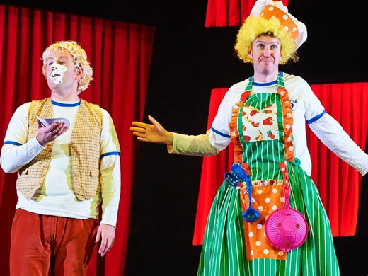 The CBBC duo Jeff and Dan on stage in the show Potted Panto.