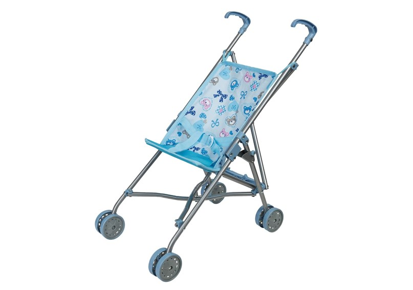 Beautiful blue buggy bear doll's stroller that can be folded easy to keep.