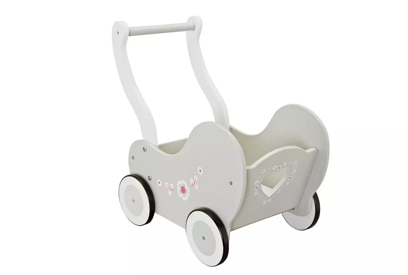 Simple but elegant and durable wooden doll's pram perfect for babies.