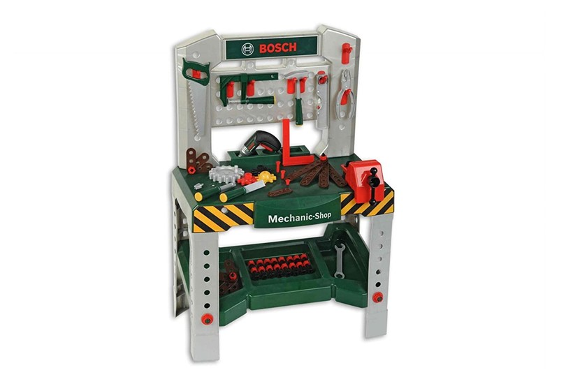 Green grey bosch workbench with sound and realistic construction toys.
