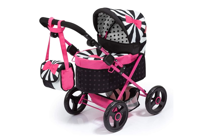 Elegant black pink dolls pram perfect for sassy little girls.