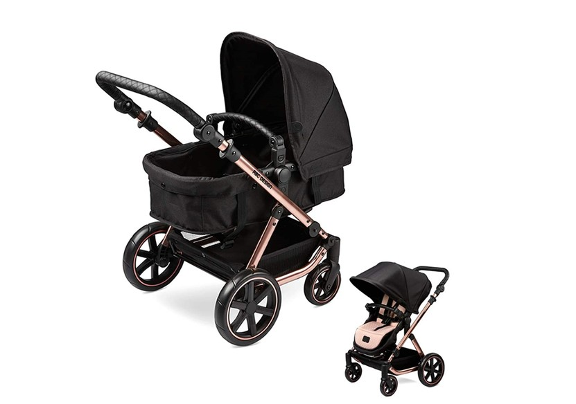 Elegant, sophisticated and realistic rose gold and black doll's pram and push chair.