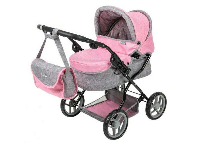 Gorgeous and realistic pink grey dolls ranger pram perfect for going park and travel.