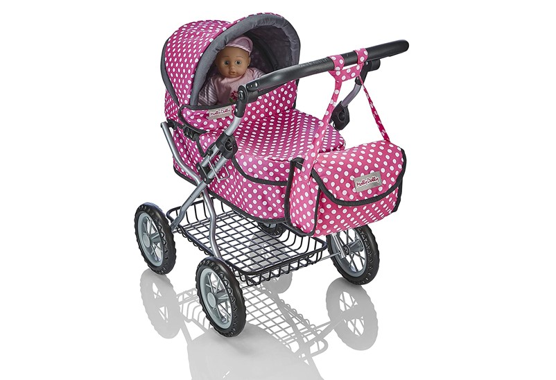 Fabulous deluxe dolls pram with nice fabric, design and polka dots prints.