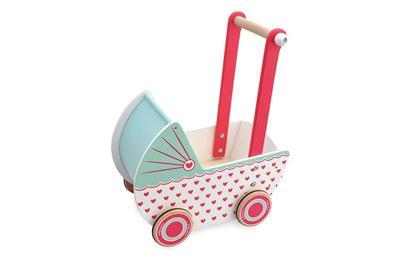 Colorful, attractive and durable wooden toy pram perfect for different toys you want to put.