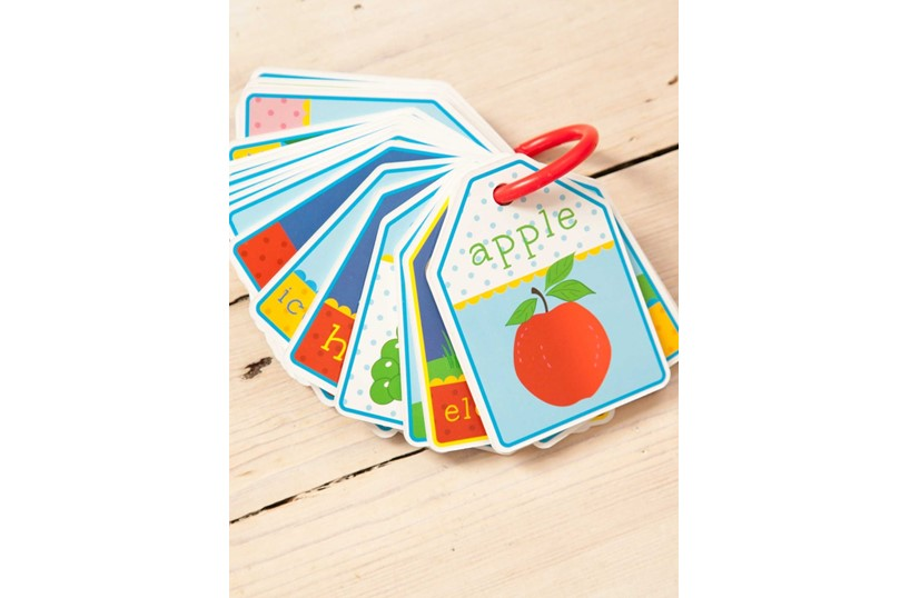 Educational and entertaining colorful flashcards for children containing alphabet and different illustrations.