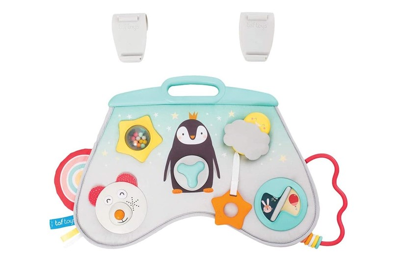 Lovable soft colors of laptoy activity center perfect for babies to entertain them while travelling.