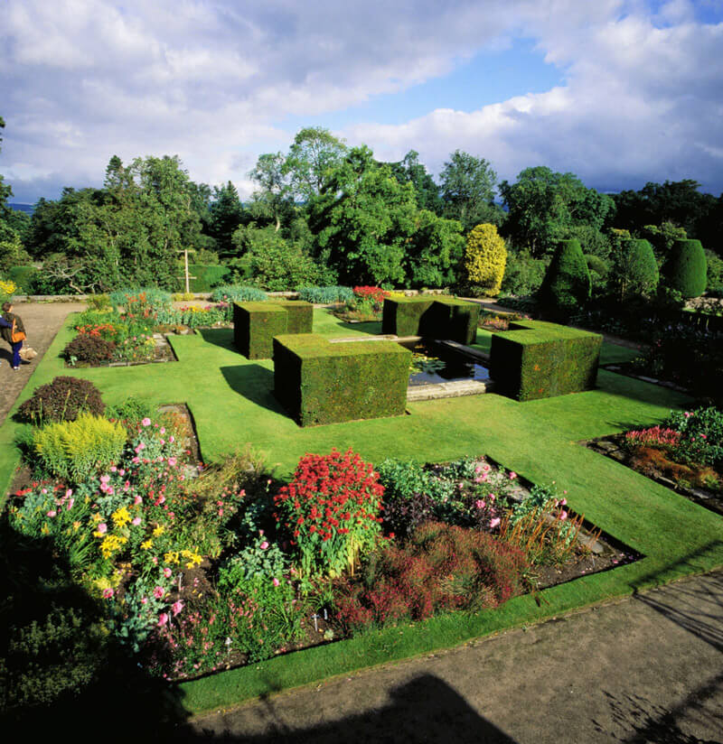 The manicured formal gardens at Crathes Castle Garden and Estate.