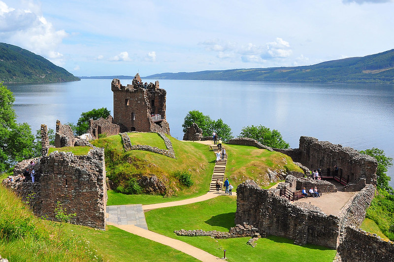 Urquhart Castle on a sunny day.
