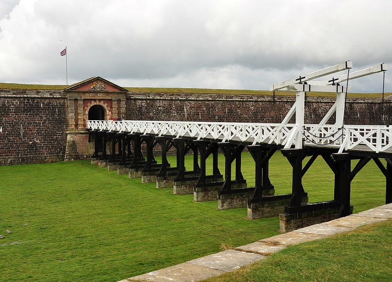 Fort George white bridge to entrance.