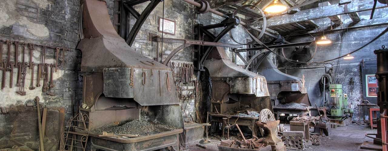 Inside one of the old workshops at the National Slate Museum.