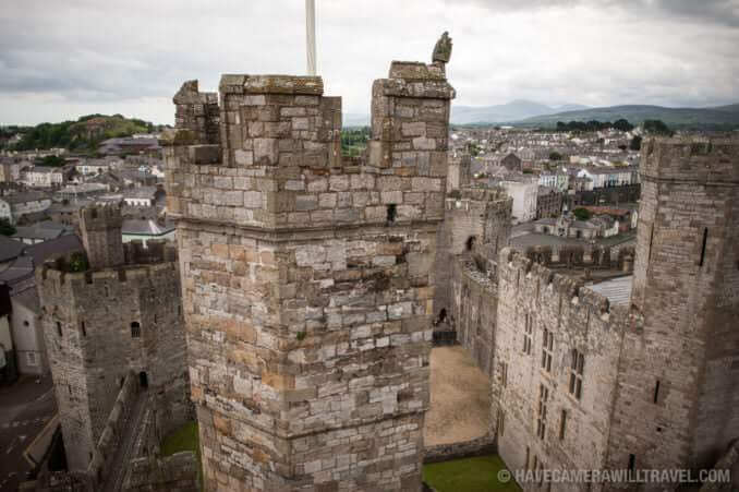A close up of one of the stone turrets at Caernarfon Castle.