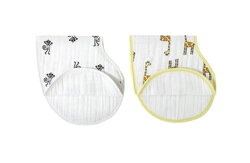 Absorbent, Durable and versatile muslin burpy bibs with nice animal prints  for babies.