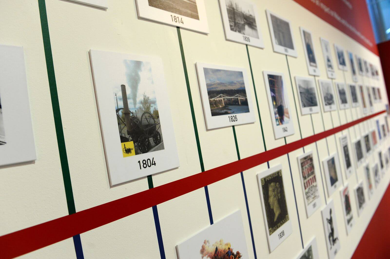 A timeline of history on the wall at the National Waterfront Museum.