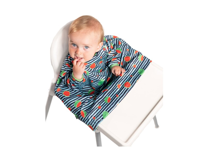 Unique design of bib coverall with watermelon print and stripes, made of quality materials