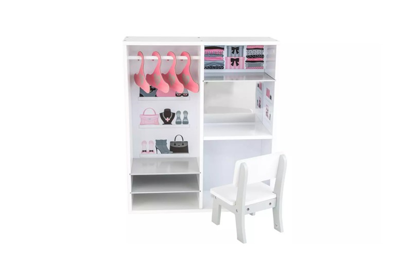 Perfect accessory of doll wooden wardrobe for keeping and storing outfits.