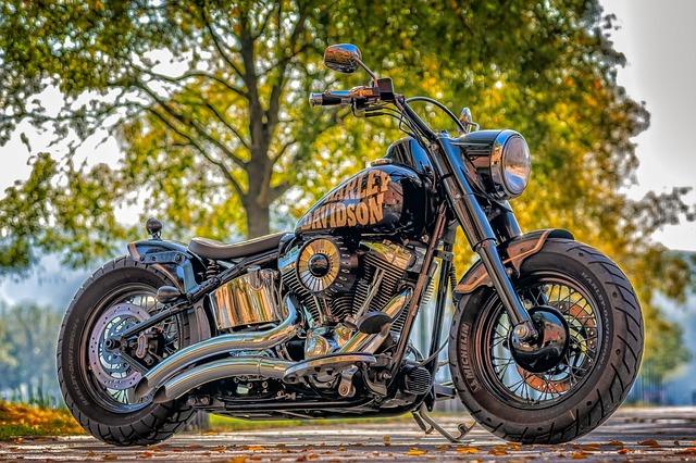 A tough-looking Harley Davidson motorcycle.