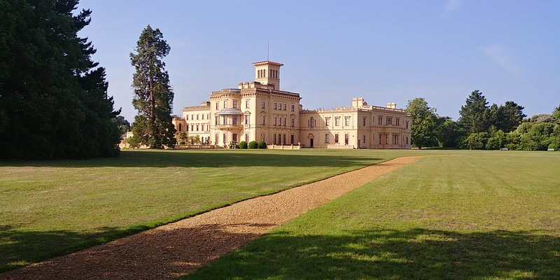 A gravel pathway leading up to the exterior of Osborne House.
