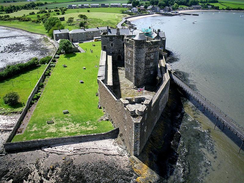 Aerial shot of Blackness Castle.