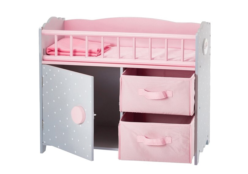 Elegant multi-purpose  polka dots cabinet and cubby with crib for the doll.