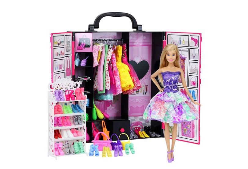 Complete set of fashion doll outfits and accessories perfect for little fashionista.