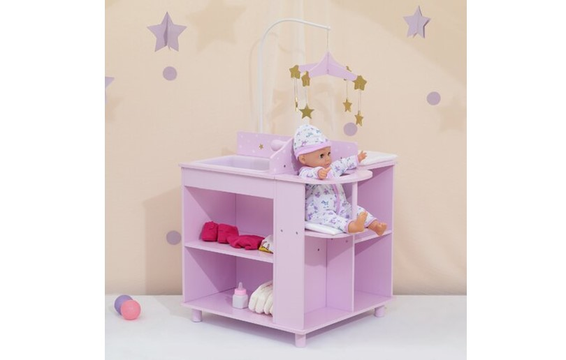 Gorgeous purple mobile for doll changing station with attractive dangling stars for baby doll.