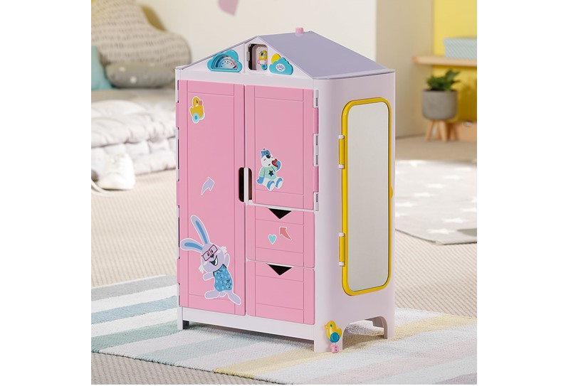 Attractive colorful mini house structure design of wardrobe for dolls.