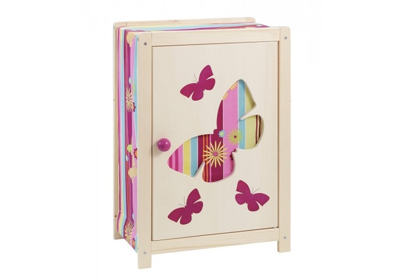 Beautiful and colorful design of wooden doll's wardrobe with unique butterfly print.