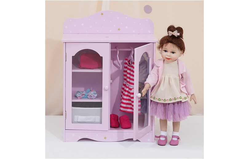 Fashionable and realistic design more durable mini doll wardrobe perfect for kids in playing.
