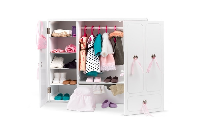 Elegant and spacious white wooden doll wardrobe with vanity mirror  that makes it ore classy.