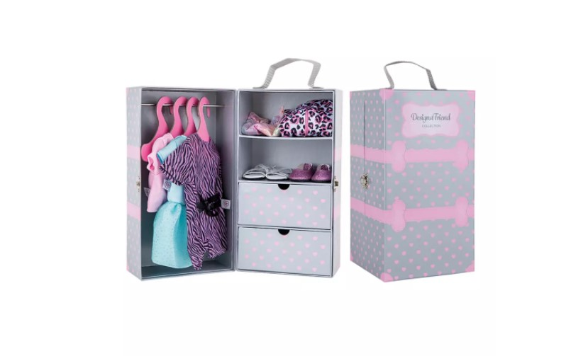 Lovable pink polka dots of doll wardrobe with set of different occasions outfit perfect little sassy girls.