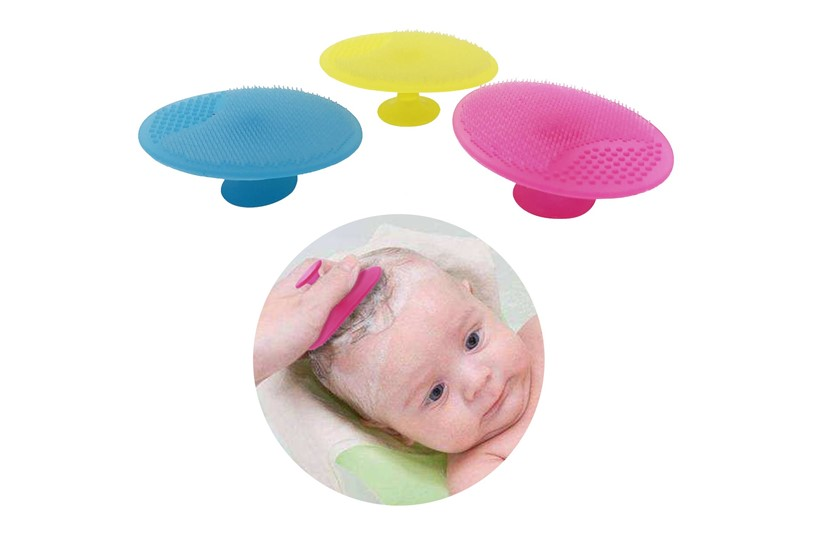 Set of colorful baby bath silicone brush for babies to massage and scrub baby's soft head.