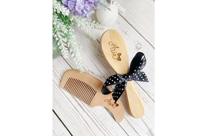 Elegant look of personalized hair brush and comb, bristles made of soft goat's hair perfect for little gift.