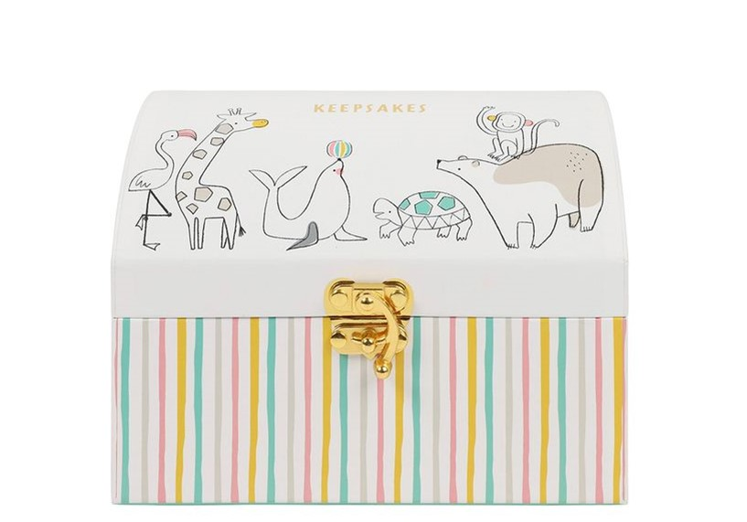Elegant treasure box look like with colorful pastel shade and adorable animal prints.