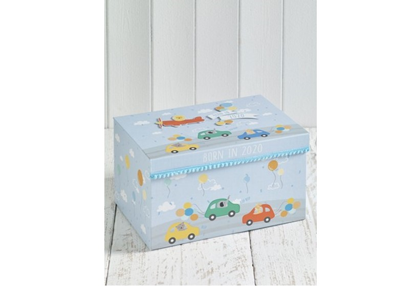 Adorable keepsake box with colorful prints of cars perfect for babies milestone.