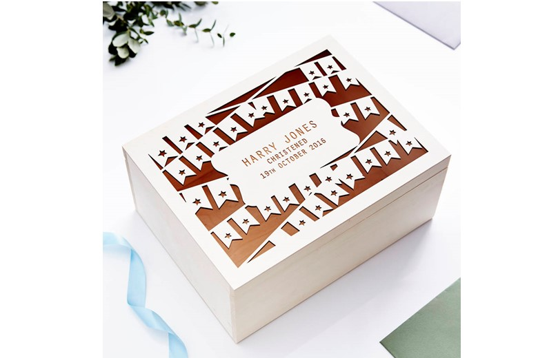 Unique personalized keepsakes box with prints of your name and birthday.