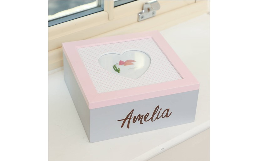 Simple but elegant pink white keepsake box  with cute heart cut in the center.