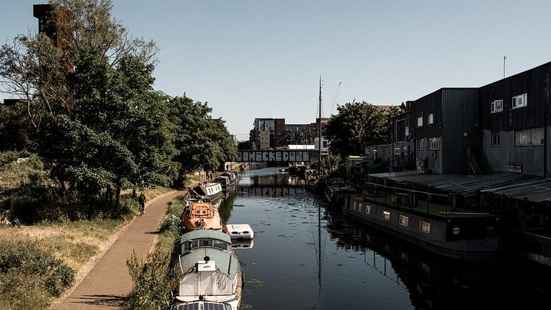 Canal boats on the River Lea in Hackney Wick.