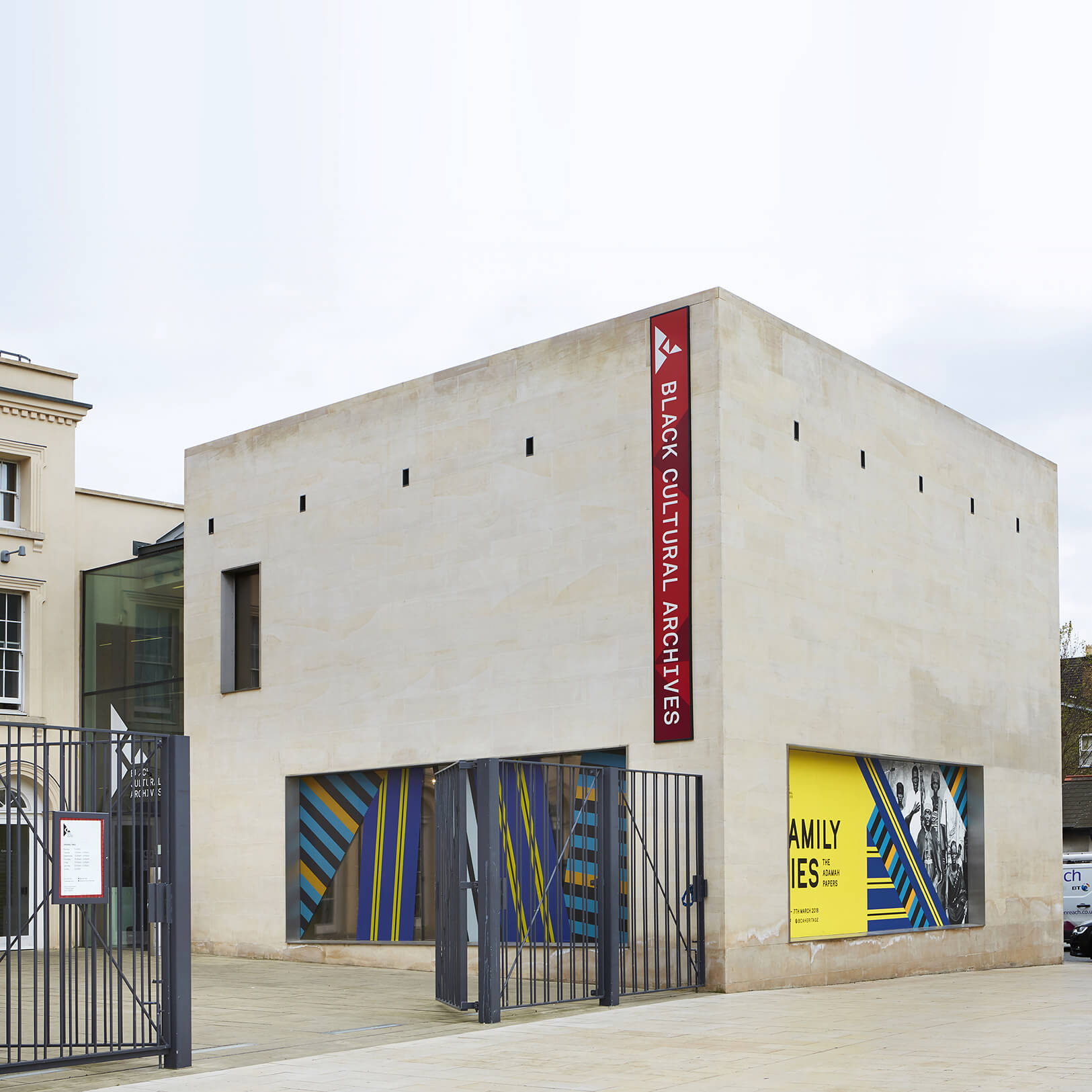 An outside view of the white Black Cultural Archives building at Windrush Square in Brixton.