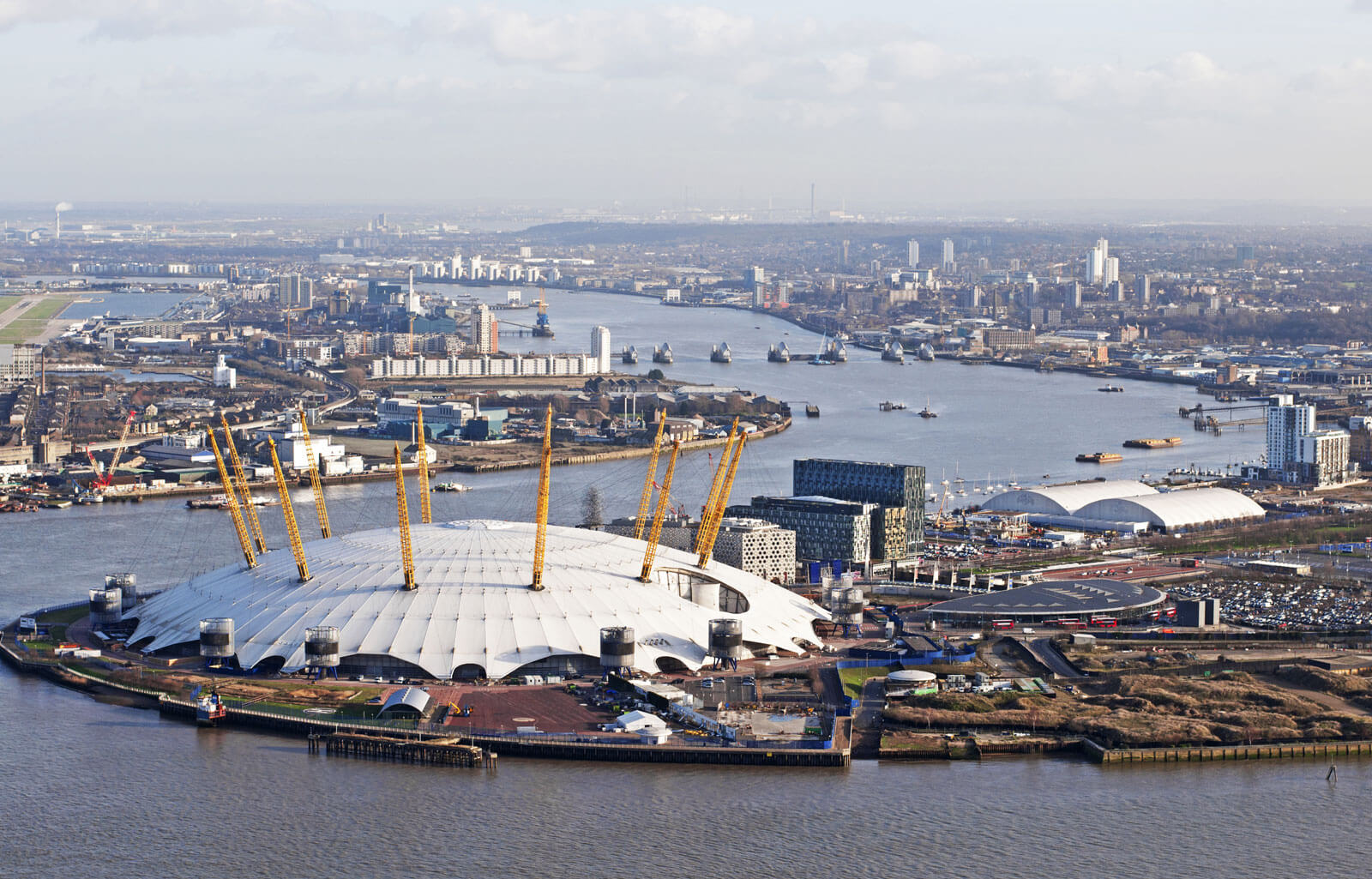 A view of the Millennium Dome, or O2, and the city of London from Emirates Air Line.