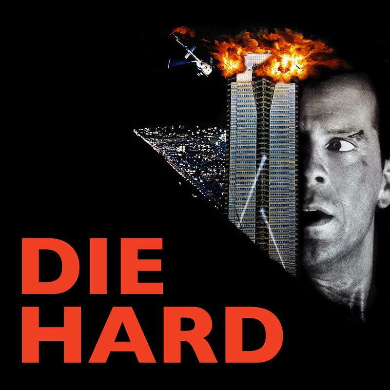 Bruce Willis on the promotional poster of the film Die Hard.